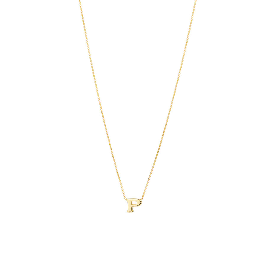 """P"" Initial Necklace in 10ct Yellow Gold"