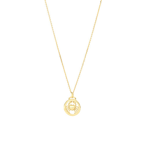 Cancer Zodiac Pendant with Chain in 10ct Yellow Gold