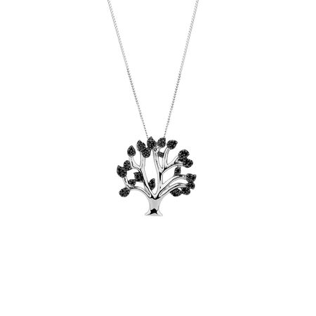 Online Exclusive - Pendant with 0.15 Carat TW of Enhanced Black Diamonds in Sterling Silver