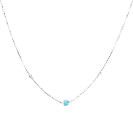 Blue Topaz Necklace with Diamonds in Sterling Silver