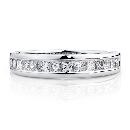 Ideal Cut Wedding Band with 0.69 TW of Diamonds in 14ct White Gold