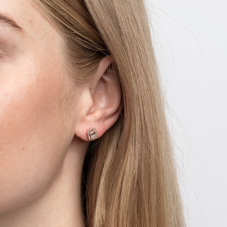 Rectangular Diamond Stud Earrings with 0.30 Carat TW of Diamonds in 10ct Rose Gold