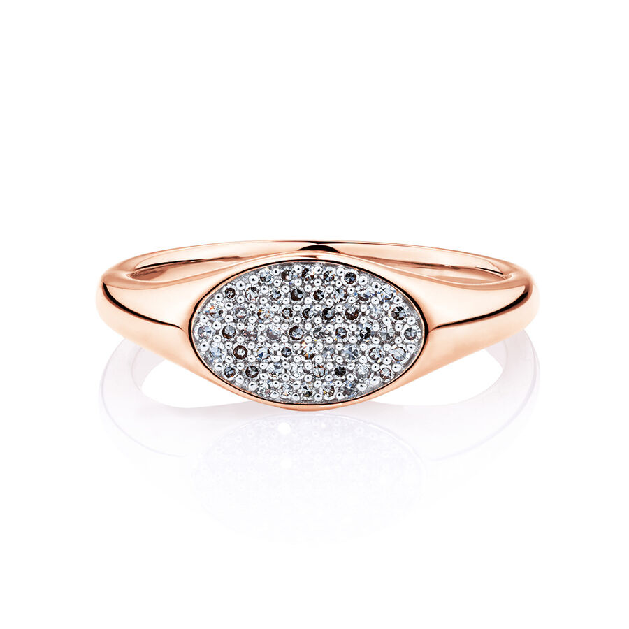 Oval Signet Ring with 0.18 carat TW of Diamonds in 10ct Rose Gold