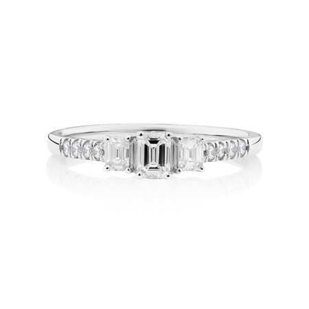 Evermore Three Stone Engagement Ring with 0.50 Carat TW of Diamonds in White Gold