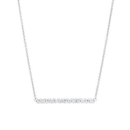 Geometric Bar Necklace with Diamonds in 10ct White Gold