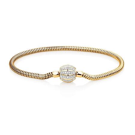 "21cm (8.5"") Charm Bracelet with 0.53 Carat TW of Diamonds in 10ct Yellow Gold"
