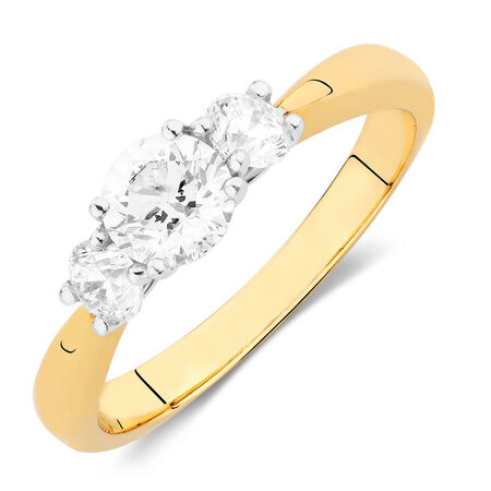 Engagement Ring with 1 Carat TW of Diamonds in 18ct Yellow & White Gold | Tuggl