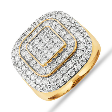 Ring with 3 Carat TW of Diamonds in 10ct Yellow Gold