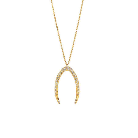 Large Mark Hill Pendant with 0.38 Carat TW of Diamonds in 10ct Yellow Gold