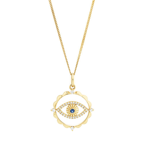 Evil Eye Talisman Pendant with Sapphire & 0.10 Carat of Diamonds in 10ct Yellow Gold