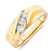 Men's Ring with 1/3 Carat TW of Diamonds in 10ct Yellow Gold