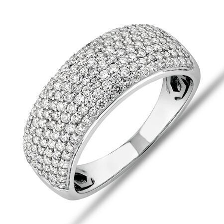 Diamond Pave Ring with 1.00 Carat TW Diamond in 10ct White Gold