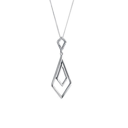 Geometric Pendant with Diamonds in Sterling Silver