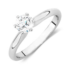 Online Exclusive - Certified Solitaire Engagement Ring with a 0.70 Carat TW Diamond in 18ct White Gold