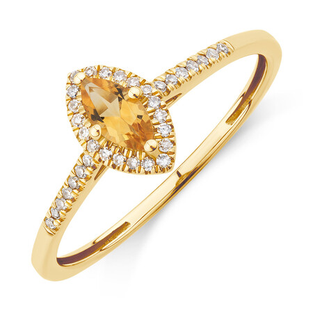 Ring with Citrine & Diamonds with 10ct Yellow Gold
