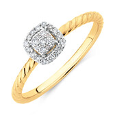 Promise Ring with 0.13 Carat TW of Diamonds in 10ct Yellow Gold