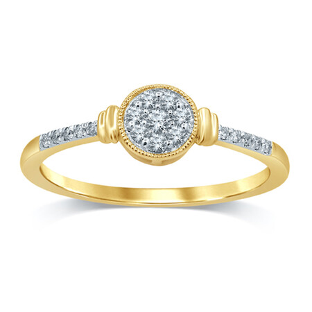 Cluster Ring with 0.12 Carat TW of Diamonds in 10ct Yellow Gold