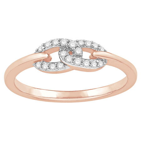 Ring with 0.12 Carat TW of Diamonds in 10ct Rose Gold