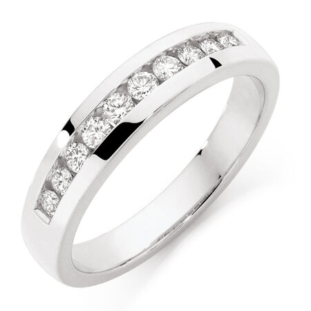 Men's Wedding Band with 1/2 Carat TW of Diamonds in 10ct White Gold