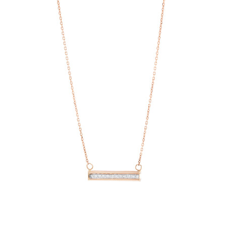"45cm (18"") Glitter Bar Pendant in 10ct Rose Gold"