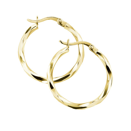 18mm Square Twist Hoop Earrings in 10ct Yellow Gold