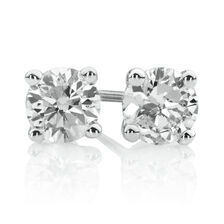 Stud Earrings with 1/4 Carat TW of Diamonds in 10ct White Gold