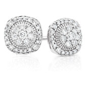 Cluster Stud Earrings with 1/3 Carat TW of Diamonds in 10ct White Gold