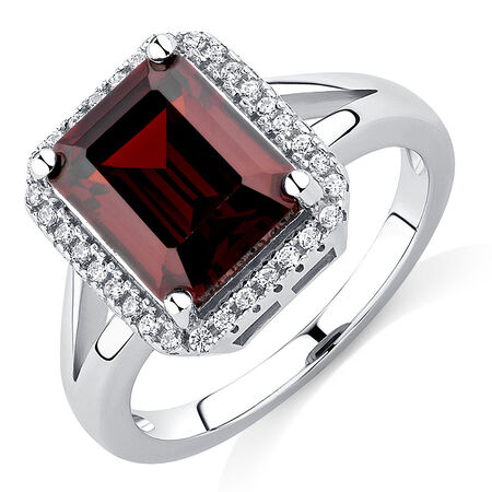 Ring with Red & White Cubic Zirconia in Sterling Silver