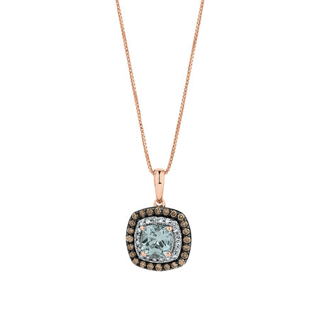 Pendant wiht 0.34 Carat TW White & Brown Diamonds & Aquamarine in 14ct Rose Gold