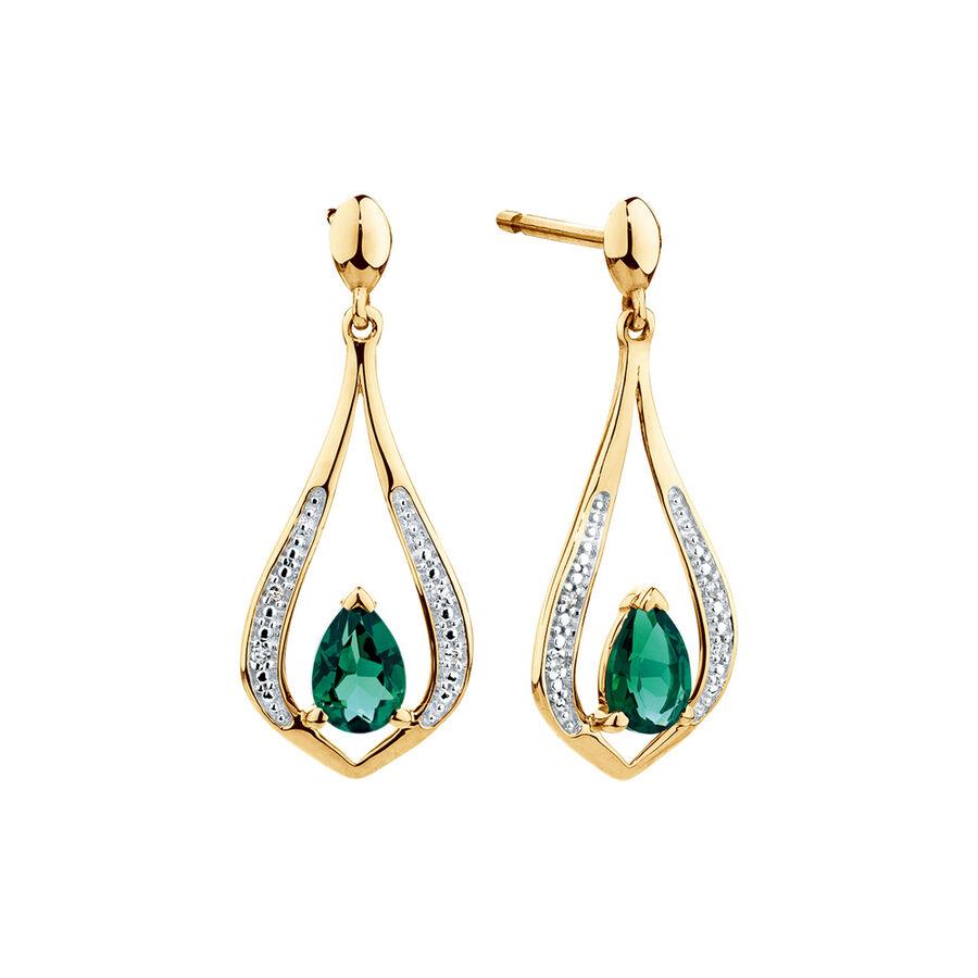 Drop Earrings with Created Emerald & Diamonds in 10ct Yellow Gold