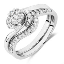 Bridal Set with 0.40 Carat TW of Diamonds in 10ct White Gold