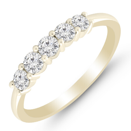 Five Stone Ring with 1/2 Carat TW of Diamonds in 14ct Yellow & White Gold