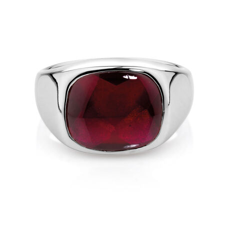 Men's Ring with Red Spinel in Sterling Silver