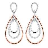 Online Exclusive - Drop Earrings with 0.20 Carat TW of Diamonds in 10ct Rose Gold & Sterling Silver