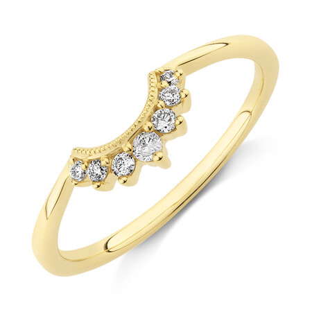 Evermore Wedding Band with 0.10 Carat TW of Diamonds in 10ct Yellow Gold