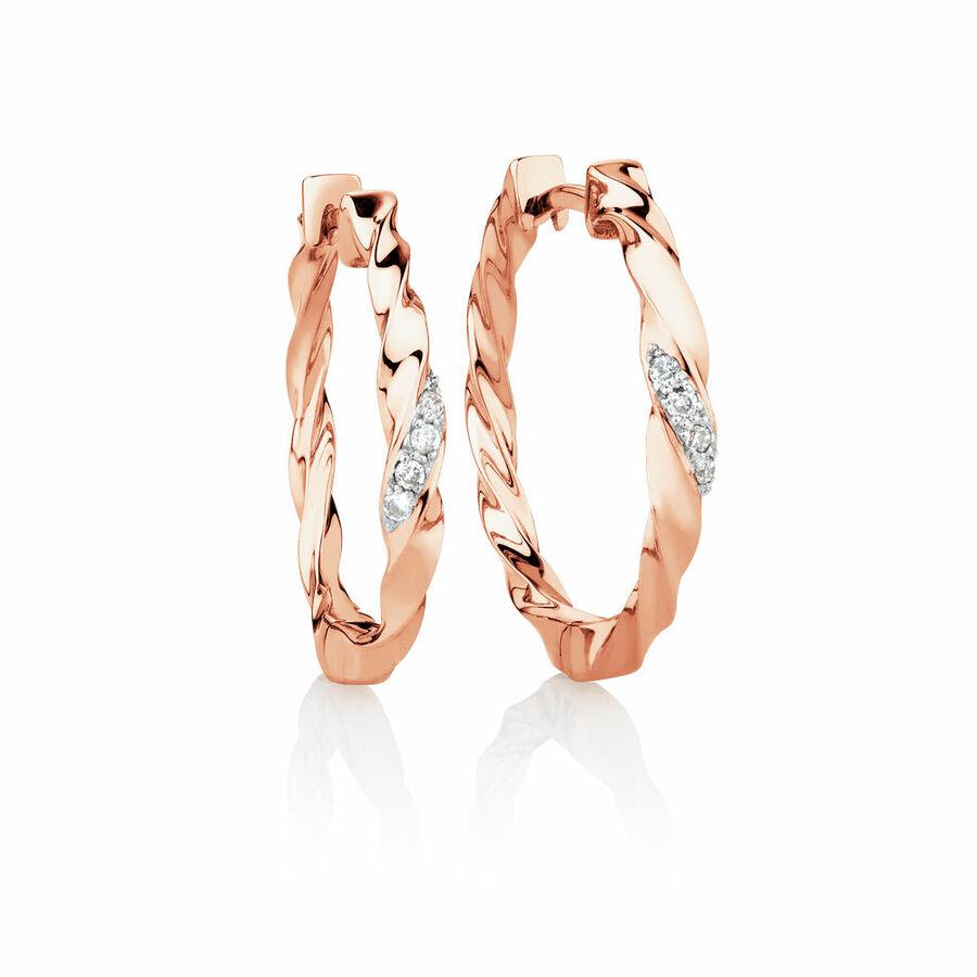 Hoop Earrings with Diamonds in 10ct Rose Gold