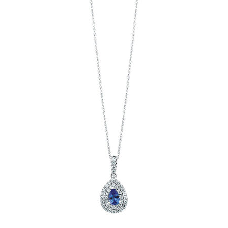 Michael Hill Designer Pendant with Tanzanite & 0.33 Carat TW of Diamonds in 14ct White & Rose Gold