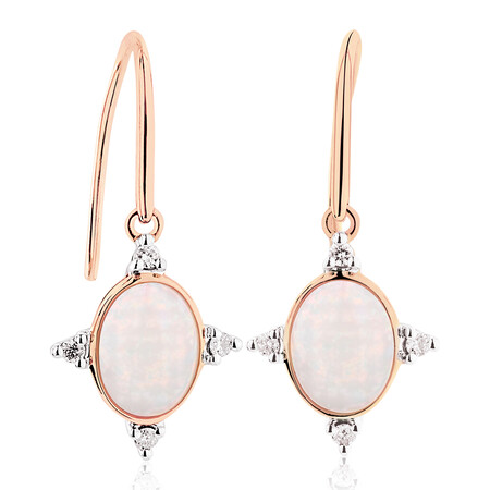 Hook Earrings with Created Opal and 0.10 Carat TW of Diamonds in 10ct Rose Gold