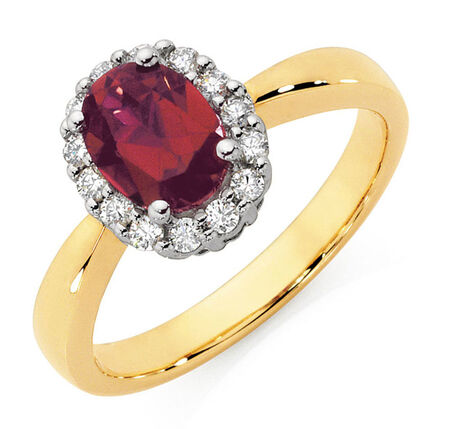 Ring with Created Ruby & 1/4 Carat TW of Diamonds in 10ct Yellow & White Gold