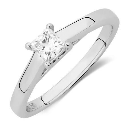 Diamond Ring with a 0.45 Carat Diamond in 14ct White Gold & Platinum