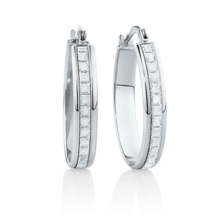 22mm Oval Glitter Hoop Earrings In 10ct White Gold