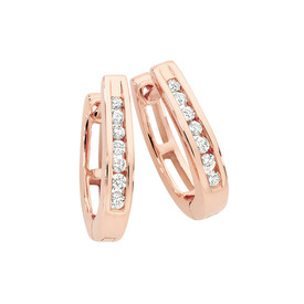 Huggie Earrings 0.15 Carat TW of Diamonds in 10ct Rose Gold