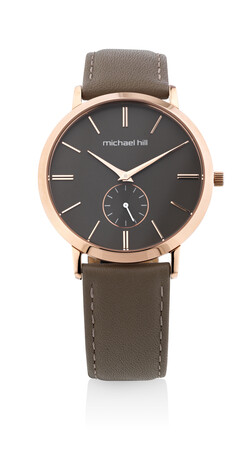 Watch in Rose Tone Stainless Steel & Brown Leather