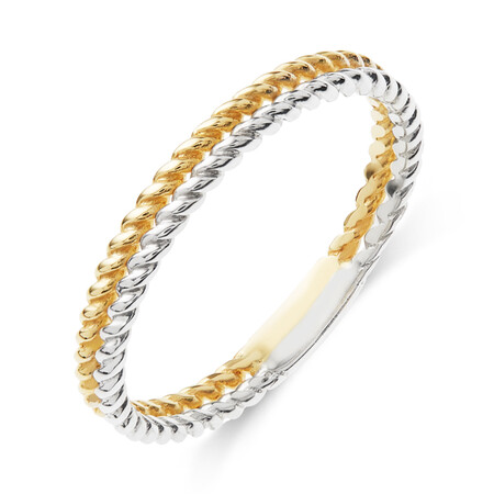Double Row Twist Ring in 10ct Yellow & White Gold