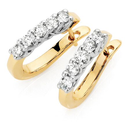 Hoop Earrings with 1/2 Carat TW of Diamonds in 18ct Yellow & White Gold
