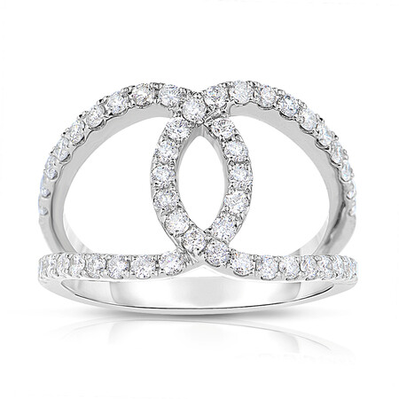 Crossover Ring with 0.69 Carat TW of Diamonds in 14ct White Gold