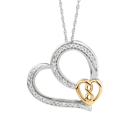 Infinitas Heart Pendant with 0.20 Carat TW of Diamonds in Sterling Silver & 10ct Yellow Gold