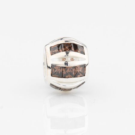 Online Exclusive - Round Stripe Charm with Brown Cubic Zirconia in Sterling Silver