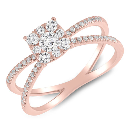 Ring with 1/2 Carat TW of Diamonds in 10ct Rose Gold