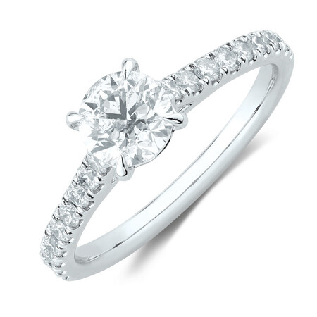 Engagement Ring with 1 1/4 Carat TW of Diamonds in 14ct White Gold
